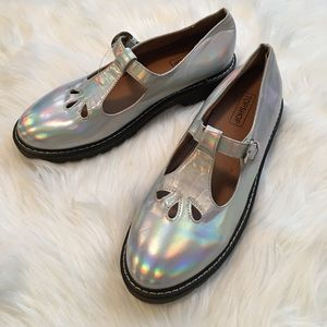 Topshop Gracie Holographic Mary Janes Size 9.5